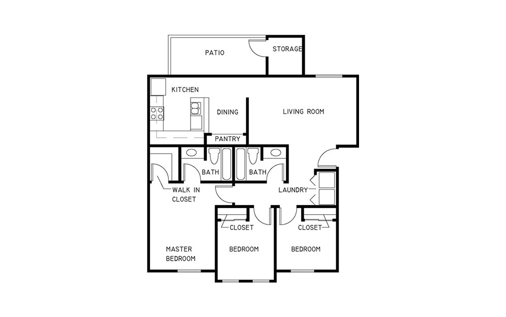 3x2 - 3 bedroom floorplan layout with 2 baths and 1230 to 1678 square feet.