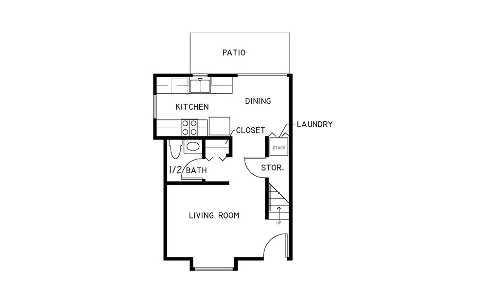 2x1.5 Townhome - 2 bedroom floorplan layout with 1.5 bath and 938 to 1208 square feet. (Floor 1)